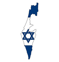 detailed map of the israel with national flag vector image