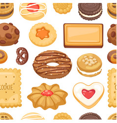 Different cookie cake isolated seamless vector