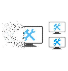 Dissolving pixel halftone desktop settings icon vector