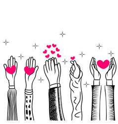 doodle hands uphands clapping with love concept vector image