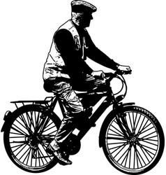 Elderly man riding bicycle sketch vector