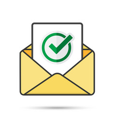 email with document and round green check mark vector image