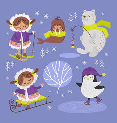 eskimo walrus winter cartoon animal vector image