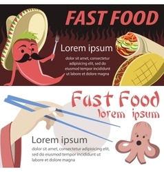Fast food banner flat mexican and japan fast food vector