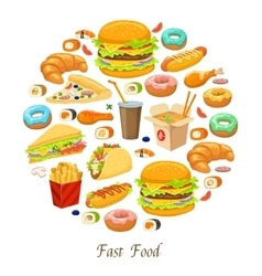 Fast Food Round Composition vector image