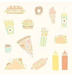 Fastfood cartoon set vector image