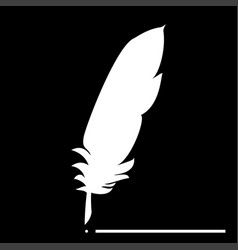Feather the white color icon vector
