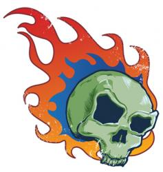 flaming skull tattoo style illustratio vector image