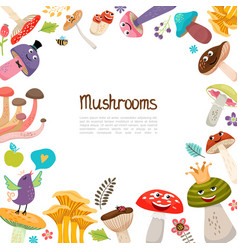 flat cute forest mushrooms template vector image