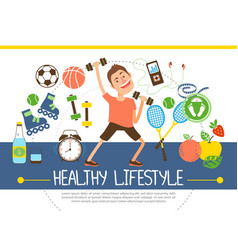 flat healthy lifestyle concept vector image