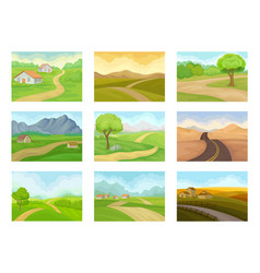 flat set of natural landscapes with road vector image