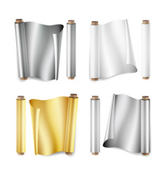 foil roll set aluminium metal gold vector image