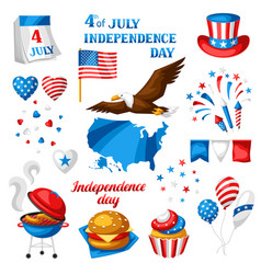 fourth july independence day symbols set vector image