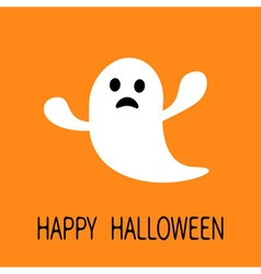 Funny flying ghost Sad face Happy Halloween vector