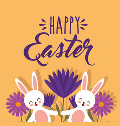 funny rabbits with flowers decoration happy easter vector image