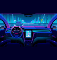 Future autonomous vehicle driverless car interior vector