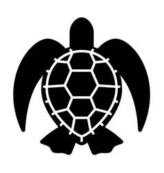 Graphic black sea turtle on white background vector