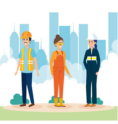 group of workers in the city vector image