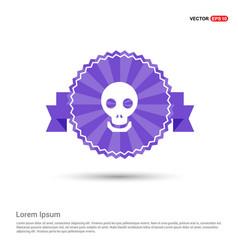 halloween skull icon - purple ribbon banner vector image