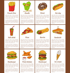 hamburger and donut desset vector image