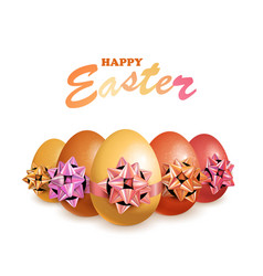 happy easter eggs with bow vector image