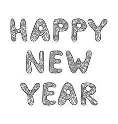 Happy New Year lettering Adult coloring book vector
