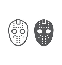 Hockey mask line and glyph icon helmet vector