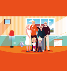 House inside with cute family members vector
