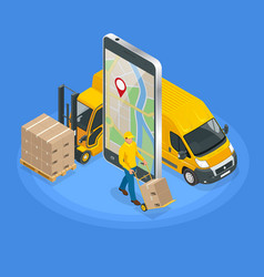Isometric concept of delivery service app on vector