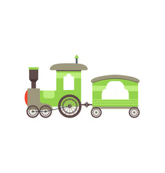 Kids cartoon green toy train railroad toy with vector