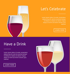 Lets celebrate have drink set of posters with text vector