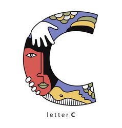 letter c with mask vector image