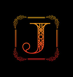 letter j with ornament vector image