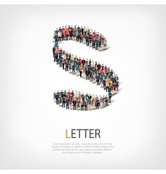 Letter people sign 3d vector