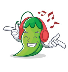 listening music peas mascot cartoon style vector image