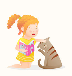 Little girl holding a book reading playing with vector