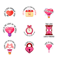 love slogans and icons valentine day double vector image