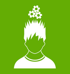 man with metal gears over head icon green vector image
