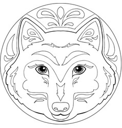 mandala wolf vector image