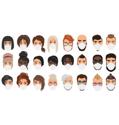 many people in masks portraits character cartoon vector image