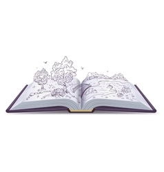 Meadow River bridge and trees in pages of an vector