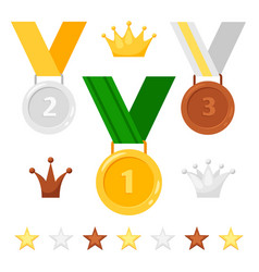 medals crowns and stars set vector image