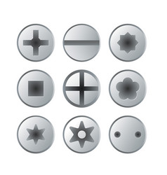 Metallic bolts and screws heads isolated set vector