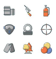 military training icons set cartoon style vector image