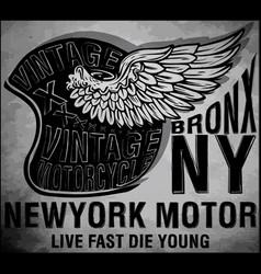 Motorcycle helmet typography new york sports club vector