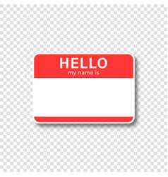 Nametag sticker with empty space and text hello vector