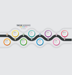 Navigation map infographic 8 steps timeline vector