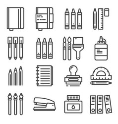 office things thin line icons set vector image