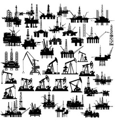 Oil platforms and oil pumps vector