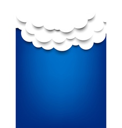 Paper clouds over blue background vector image